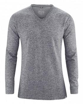 VOLKER pánské tričko s dlouhým rukávem z konopí a biobavlny - šedá melange