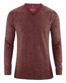 VOLKER pánské tričko s dlouhým rukávem z konopí a biobavlny - červenohnědá chestnut
