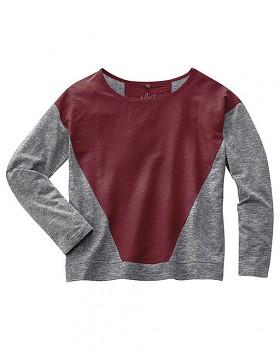 INA dámské triko s dlouhým rukávem z konopí a biobavlny - červenohnědá chestnut