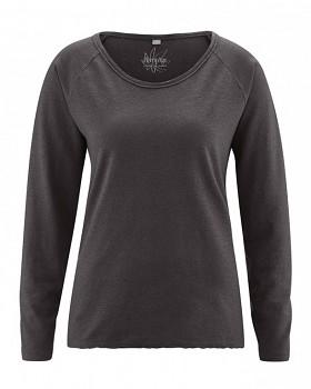 JOYA dámské triko s dlouhým rukávem z konopí a biobavlny - černá