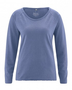 JOYA dámské triko s dlouhým rukávem z konopí a biobavlny - borůvková