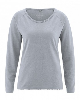 JOYA dámské triko s dlouhým rukávem z konopí a biobavlny - cínová