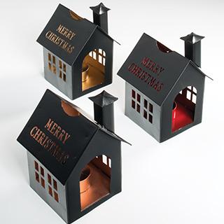 XMAS HOUSE svícen na čajové svíčky  červená, zlatá, bronzová