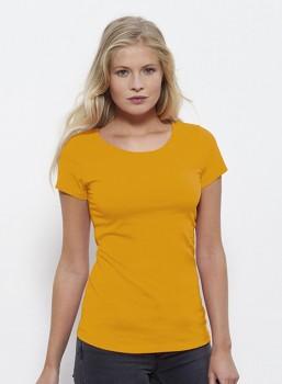 STELLA WANTS Dámské tričko s kulatým výstřihem ze 100% biobavlny - žlutá spectra