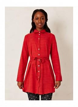 BOUDDI dámská košile z tencelu, vlny a biobavlny - červená rust