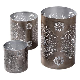 Sada 3 kovových svícnů na čajové svíčky - stříbrná