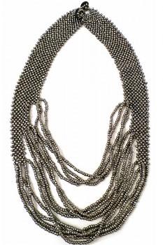 TIBOLI korálkový náhrdelník - stříbrná
