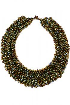 TIBOLI korálkový náhrdelník (obojek) - bronzová