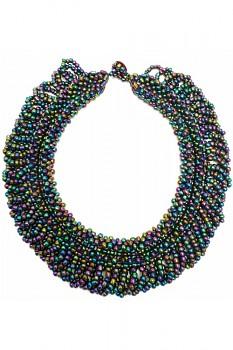 TIBOLI korálkový náhrdelník (obojek) - paví