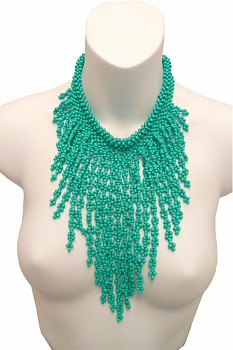 Waterfall korálkový náhrdelník- tyrkysová
