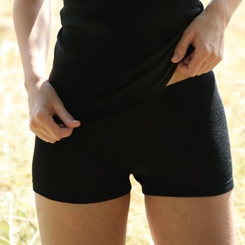 Dámské kalhotky s nohavičkami z merino vlny a hedvábí - černá