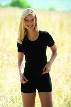 Dámské tričko z bio merino vlny a hedvábí  - černá