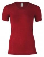 Dámské tričko z bio merino vlny a hedvábí  - červená malve