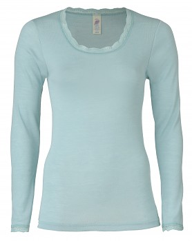 Dámské triko s dlouhými rukávy z bio merino vlny a hedvábí s krajkovým lemováním - světle modrá glacier