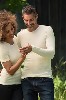 UNISEX triko s dlouhými rukávy ze 100% bio merino vlny - přírodní