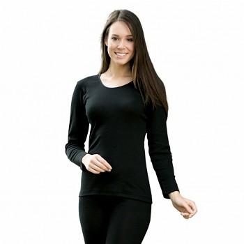 Dámské triko s dlouhými rukávy z bio merino vlny a hedvábí - černá