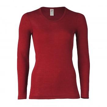 Dámské triko s dlouhými rukávy z bio merino vlny a hedvábí - červená malve