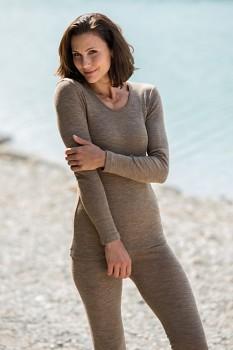 Dámské triko s dlouhými rukávy z bio merino vlny a hedvábí - hnědá wallnut
