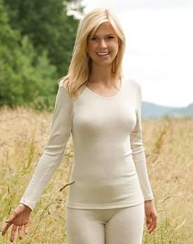 Dámské triko s dlouhými rukávy z bio merino vlny a hedvábí - přírodní