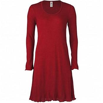 Dámská noční košile s dlouhými rukávy z merino vlny a hedvábí - červená malve