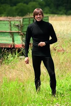 Pánské legíny z bio merino vlny a hedvábí - černá