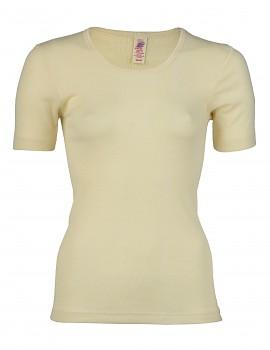 Unisex tričko s krátkými rukávy ze 100% bio merino vlny - přírodní
