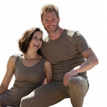 Pánské tričko s krátkými rukávy z bio merino vlny a hedvábí - hnědá wallnut