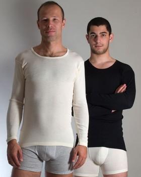 Pánské tričko s dlouhými rukávy z bio merino vlny a hedvábí - přírodní