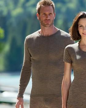 Pánské tričko s dlouhými rukávy z bio merino vlny a hedvábí - hnědá wallnut