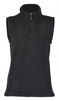 Dámská fleecová vesta ze 100% bio merino vlny - černá melange