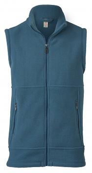 Pánská fleesová vesta ze 100% bio merino vlny - modrá atlantik