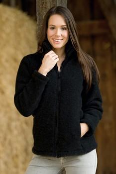 Dámská fleecová bunda ze 100% bio merino vlny - černá melange