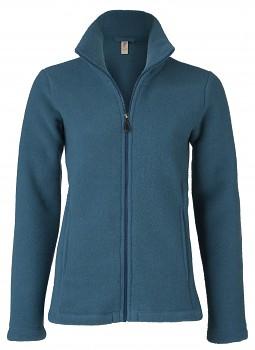 Dámská fleecová bunda ze 100% bio merino vlny - modrá atlantik