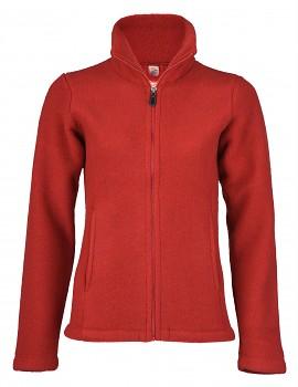Dámská fleecová bunda ze 100% bio merino vlny - červená melange