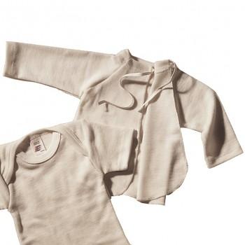 Zavinovací kojenecká košilka z merino vlny a hedvábí