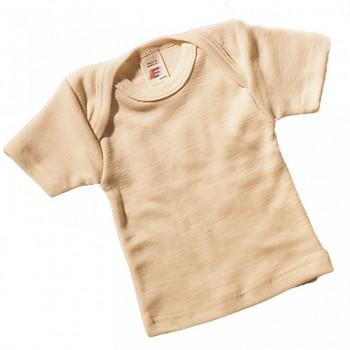 Kojenecké tričko s krátkými rukávy z merino vlny a hedvábí