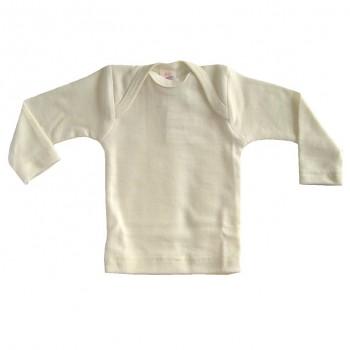 Kojenecké tričko s dlouhými rukávy z merino vlny a hedvábí