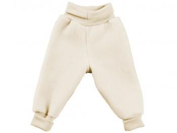 Kojenecké kalhoty ze 100% bio merino vlny (fleece) - přírodní