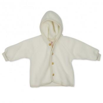 Kojenecký kabátek ze 100% bio merino vlny (fleece) - přírodní