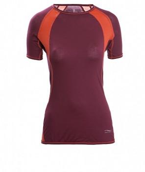 Dámské tričko s krátkými rukávy z bio merino vlny a hedvábí - fialová tango