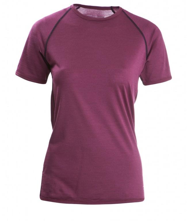 f35e1ebdd3 Dámské tričko s krátkými rukávy z bio merino vlny a hedvábí - fialová tango