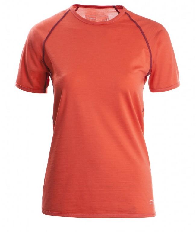 b6b9a6ec7da Dámské tričko s krátkými rukávy z bio merino vlny a hedvábí - oranžová spicy