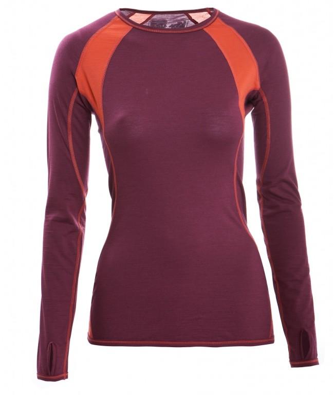 dd58d5d065 Dámské tričko s dlouhými rukávy z bio merino vlny a hedvábí - fialová tango