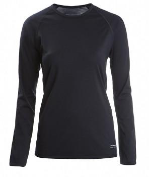 Dámské tričko s dlouhými rukávy z bio merino vlny a hedvábí - černá