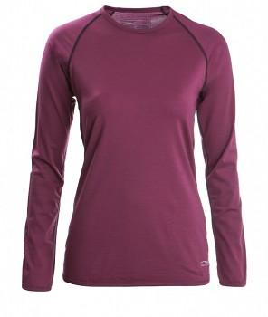 Dámské tričko s dlouhými rukávy z bio merino vlny a hedvábí - fialová tango