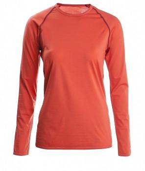 Dámské tričko s dlouhými rukávy z bio merino vlny a hedvábí - oranžová spicy