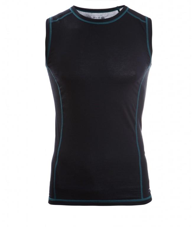 Pánské sportovní tričko bez rukávů z bio merino vlny a hedvábí - černá eef78709c3