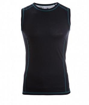 Pánské sportovní tričko bez rukávů z bio merino vlny a hedvábí - černá