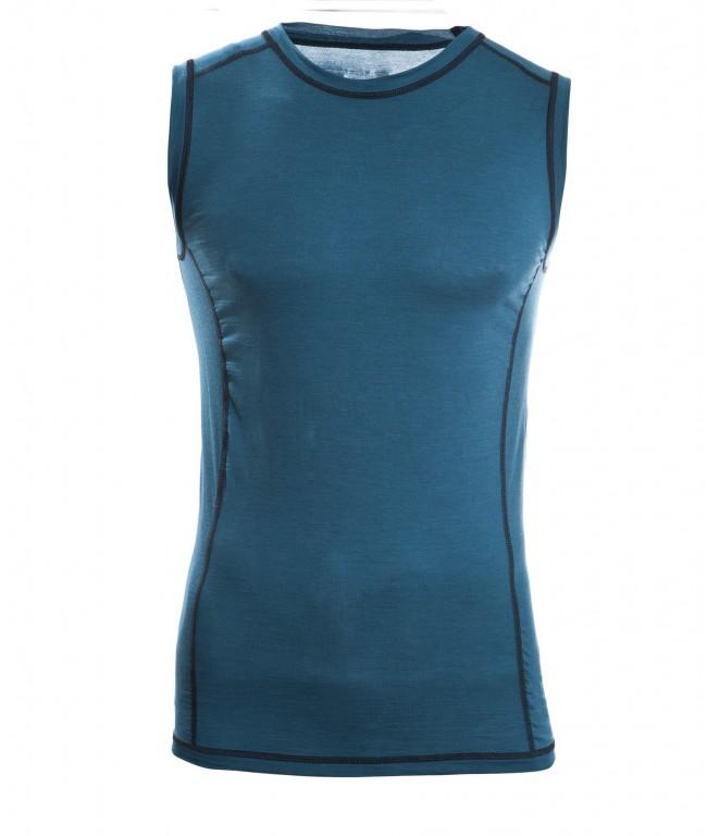 85047300f5 Pánské sportovní tričko bez rukávů z bio merino vlny a hedvábí -  modrozelená hydro