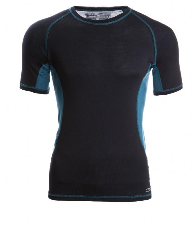 0553beb689 Pánské sportovní tričko s kr. rukávy z bio merino vlny a hedvábí - černá  hydro